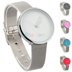 New-Minimalism-Women-Lady-Fashion-Stainless-Steel-Mesh-Analog-Bracelet-Wrist-Watch-Candy-Colors-00UX
